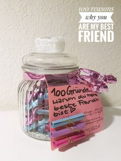 100 reasons why YOU are my best friend 1 things I like about you 2 moments memories 3 sayings quotations 100 Gründe warum du meine beste Freundin bist 1 Dinge die. Presents For Best Friends, Birthday Gifts For Best Friend, Diy Presents, Presents For Mom, Best Friend Gifts, Birthday Presents, Diy Gifts, Gifts For Mom, To My Best Friend