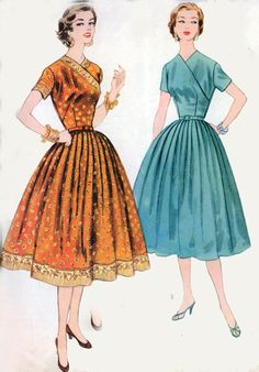 Vintage 50s Sewing Pattern McCalls 3235 Full Skirted Dress with Surplice Wrap Bodice Size 16 Bust 34 UNCUT