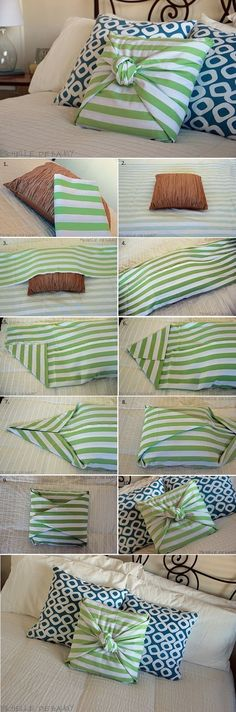 Here is a great idea to decorate your pillows. The method is very easy to apply and you will not need materials or sewing. All that is required for this action #diypillowcoversnosew