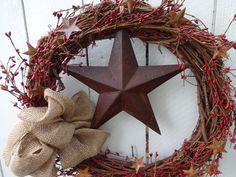 Primitive Wreath Summer Wreath Rusty Star Wreath Pip Berry Wreath All Season Wreath Door Decorations Spring and Summer Wreath