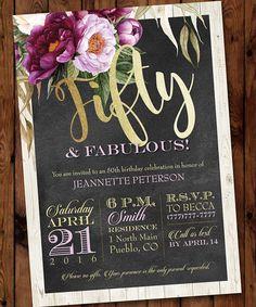 50 & Fabulous Birthday Invitation, 80th, 70th, 60th, 50th Birthday Invitation, Adult Female Birthday Invitation, Purple Floral Invitation
