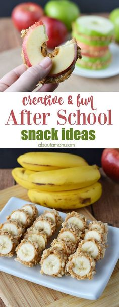 and fun after school snack ideas like banana sushi and apple sandwiches will help your kids power through homework time.Creative and fun after school snack ideas like banana sushi and apple sandwiches will help your kids power through homework time. Healthy Afternoon Snacks, Lunch Snacks, Healthy Snacks For Kids, Clean Eating Snacks, Healthy Drinks, Healthy Recipes, Snacks Kids, Dinner Ideas For Kids, Healthy Afterschool Snacks
