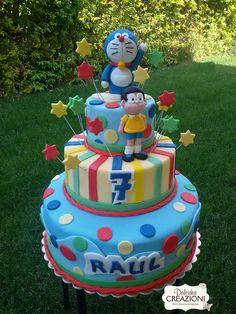 Torta Doraemon e Nobita - Doraemon cake Doraemon Cake, Jungle Cake, Cakes For Boys, Cake Kids, Torte Cake, Cake Pictures, Boy Birthday, Cake Birthday, Cupcake Cookies