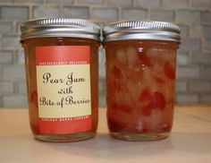 Bits of dried strawberries perk up this pear jam -- as tasty as it is pretty