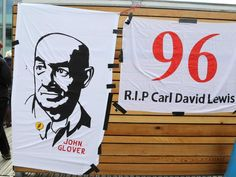 Banners in memory of the Hillsborough disaster outside the inquest.