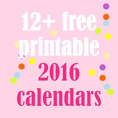 Free printable 2016 calendars - Kalender 2016 - round-up | MeinLilaPark – DIY printables and downloads