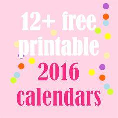 Free printable 2016 calendars - Kalender 2016 - round-up | MeinLilaPark – DIY printables and downloads