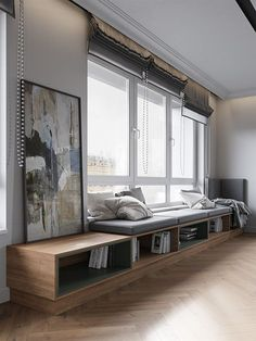 The family came to our studio for design of their new apartment and the first wish was to make the apartment as close as it possible to the nature, for resting from urban bustle at home. Home Office Design, Home Interior Design, Living Room Decor, Bedroom Decor, Window Benches, Window Seats, House Rooms, Home And Living, Furniture Design