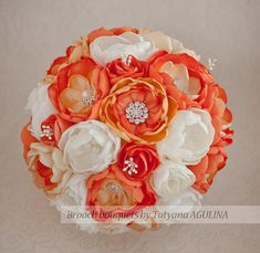 Brooch bouquet. Orange Ivory and Silver by MagnoliaHandmade