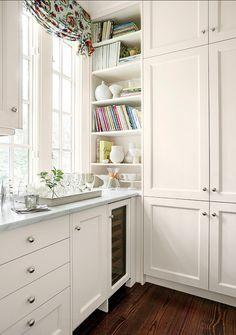 Kitchen Cabinet Ideas. I like the idea of designing a cabinet on corner to store books and other special decorative items. #KitchenCabinet Cabinet hardware are Knurled Pulls and Knobs.
