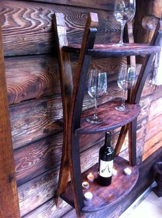 Shelves made of reclaimed wine barrels by amacreation on Etsy, $250.00