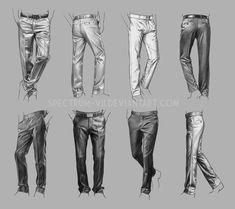 Pants drawing references, by amazing artist Spectrum-VII (DeviantArt) 👖 What . by Astor - Illustration Drawing Techniques, Drawing Tips, Drawing Reference, Drawing Sketches, Art Drawings, Sketching, Pants Drawing, Drawing Clothes, Suit Drawing
