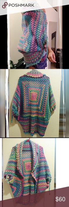 Long crochet cardigan Multicolors crochet cardigans handmade. Size XXS-XS-S. Beautiful and delicate fabric acrylic . Gently crochet. Handmade  Sweaters Cardigans