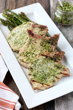 Arugula Pesto Rubbed Grilled Pork Chops