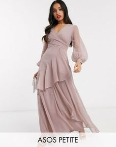 Buy ASOS DESIGN Petite blouson sleeve maxi dress with wrap skirt at ASOS. With free delivery and return options (Ts&Cs apply), online shopping has never been so easy. Get the latest trends with ASOS now. Asos Bridesmaid Dress, Asos Petite, Maxi Dress With Sleeves, Pick One, Formal Dresses, Wedding Dresses, Snapchat, Latest Trends, Cold Shoulder Dress