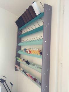 Thread Storage, Sewing Room Storage, Sewing Room Organization, Craft Room Storage, My Sewing Room, Sewing Rooms, Craft Room Signs, Craft Room Decor, Diy Storage Table