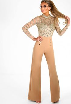 0cd20dccb07c1 Risky Business Camel High Waisted Wide Leg Trousers