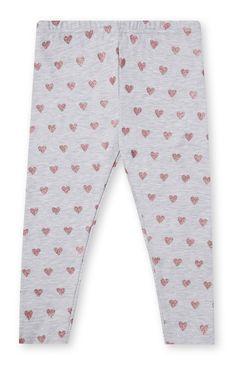 Primark - Grijze legging met glimmende hartjes