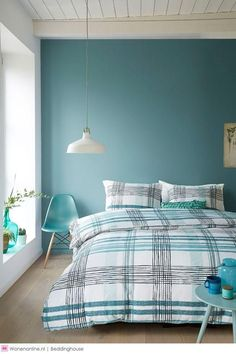 A little blue color in the room is always welcome! And a shade that gained prominence years ago and is still widely used when it comes to decoration is Home, Room Interior, Bedroom Interior, Living Room Interior, Home Deco, Room Decor, Interior Design, Interior Design Bedroom, Bedroom Wall Colors