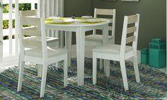 Conjunto para Sala de Jantar com Mesa, 4 Cadeiras e Estante Branco/Bege - Caaza | Lojas KD