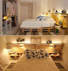 Wooden Pallets used as a bed frame...love how this fills the whole wall.