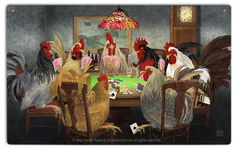 Chickens Playing Poker Tin Sign by Sarah Hudock
