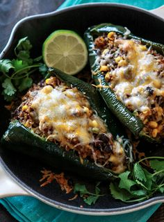 Shredded Beef, Black Bean and Quinoa Stuffed Poblanos. Suggested substitute of diced zucchini or fire roasted tomatoes for the beef. Sub left over chicken too.MINUS the cheese, looks amazing! I Love Food, Good Food, Yummy Food, Stuffed Poblanos, Stuffed Peppers, Carnitas, Mexican Dishes, Mexican Food Recipes, Mexican Cheese