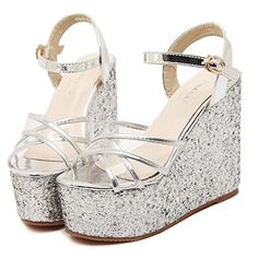 SkyleCoel Womens PeepToe Wedges Platform Sandals 65 Silver *** To view further for this item, visit the image link.