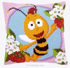 Kit coussin point de croix Vervaco willy - maya l'abeille