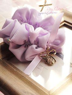 出口订单韩国甜美浅紫金属蝴蝶结吊饰缎带雪纺发圈头花发饰