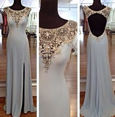 Vintage Pom Dress100 handmade beading Chiffon by okbridal, 2015 prom dress, prom dresses