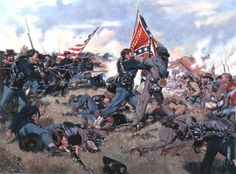 """Fight for the Colors"" by Don Troiani.  The Sixth Wisconsin vs. the Second Mississippi in the Railroad Cut at Gettysburg, July 1, 1863."