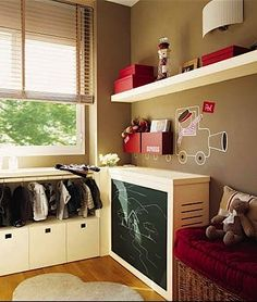 """low-hanging """"closet"""" along with chalkboard-fronted radiator cover (?)"""