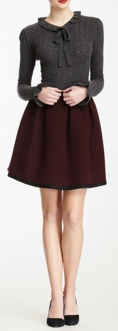 Orla Kiely Pleated Wool Blend Skirt in the office