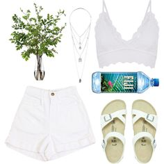 blanc. by kyalouise on Polyvore featuring polyvore fashion style Birkenstock Miss Selfridge Diane James Summer