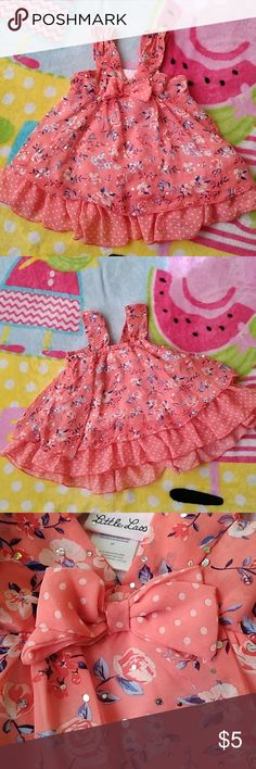 c5d913f5ff27e Little Lass Girl Blouse Adorable flower   sliver sequence Dress with  polkadot frills on inner lining and polka dot bow tie on top front of dress.