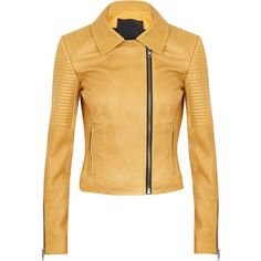 A.L.C. Margaux Leather Biker Jacket ($1,680) ❤ liked on Polyvore featuring outerwear, jackets, yellow, coats, giacche, genuine leather jacket, asymmetrical zip jacket, genuine leather biker jacket, yellow motorcycle jacket and brown moto jacket
