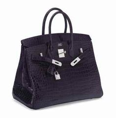 AN EXCEPTIONAL 35CM SHINY AMETHYST POROSUS CROCODILE BIRKIN BAG WITH WHITE GOLD & DIAMOND HARDWARE