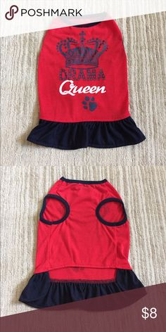 "Dog dress🐶 Red and navy drama queen dog dress. Perfect condition. Great Choice brand. 100% polyester Both dresses measure 12.5"" from top of collar to bottom of dress. 🚭non smoker home. Bundle and save 10% Other"