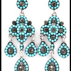 Stunning turquoise earrings in @Blue Vanilla Poshmark Closet- only $9.00