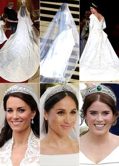 Royal Brides: April 2011 - Catherine Middleton, May 2018 - Meghan Markle, October 2018 - Princess Eugenie - English Royal Family, British Royal Families, Royal Wedding Gowns, Royal Weddings, Royal Tiaras, Royal Jewels, Lady Diana, Duchess Kate, Duchess Of Cambridge