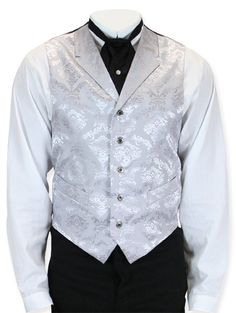 Pure elegance of the era, our Silver Peak Vest will have you tipping a top hat to the fine gents who set a precedent for such dandy dressing. Make an impeccable impression at any wedding or white-tail affair wearing this 19th century inspired waistcoat. Our fully-lined vest features a notched lapel, a pointed-tip hem and two inset welt pockets and the waist. Cut from opulent tone-on-tone fabric and appointed with five antiqued metal buttons and an adjustable back strap. Made from 100% ...