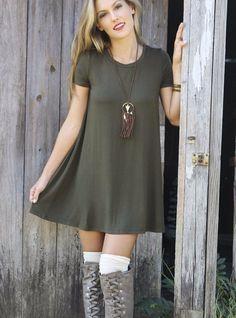 Keep It Casual Olive Short Sleeve Jersey Shirt Dress