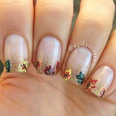 Check out best autumn nail art designs & ideas of 2016 that I brought for you today. Glittery Nails, Fancy Nails, Cute Nails, Pretty Nails, Fall Nail Art Designs, Nail Polish Designs, Nails Design, Autumn Nails, Winter Nail Art