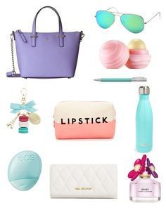 """""""Purse Essentials"""" by destinysfashion ❤ liked on Polyvore featuring Kate Spade, Ladurée, Ray-Ban, Eos, Faber-Castell, Vera Bradley, Forever 21, Marc Jacobs and S'well"""