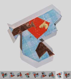 To gild the blue C. Cristales, pan de cobre, pan de oro, acrílico y papel de seda sobre cartón. 3,7 x 40 x 40 cm. 2010.