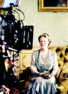 Dame Maggie Smith faces the camera as Violet, Dowager Countess of Grantham - behind the scenes on Downton Abbey, season 6..