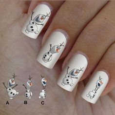 60 nail art decal,Frozen style,nail art design,nail stickers,elsa, olaf snowman