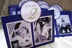 wedding table numbers-- a picture of the bride and groom at the age that corresponds with the table number...how cute!