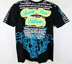 Men's Raw Blue Black Graphic Gothic T-Shirt Size 2XL Embellished Design Casual  #RawBlue #GraphicTee